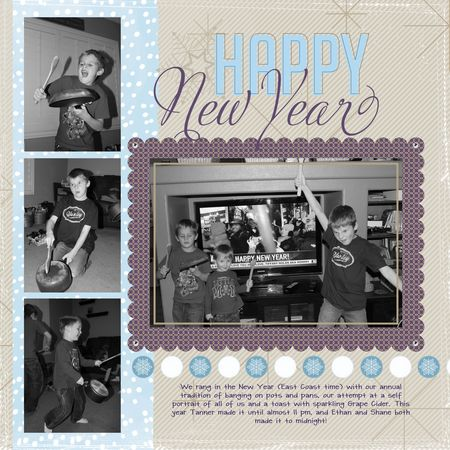 Happy New Year layout Let it Snow download Stampin' Up! My Digital Studio